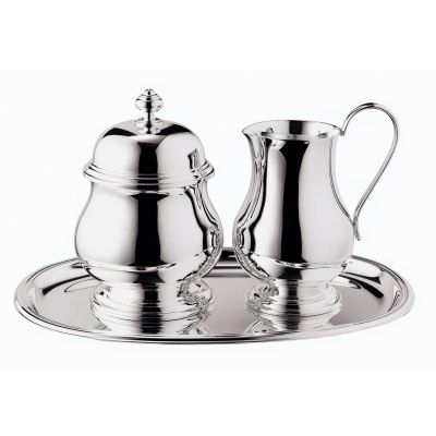 Sugar And Creamer Serving Set - 3 Pieces - Ambassador in Silver Plated