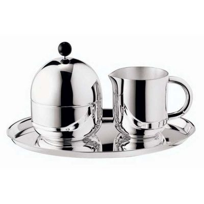 Sugar And Creamer Serving Set - 3 Pieces - Silhouette in Silver Plated