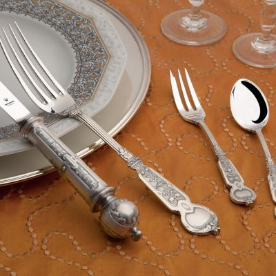 Cutlery Set - 4 Pieces - Venezia in 925 Sterling Silver Oxidized Surface