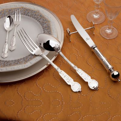 Cutlery Set - 4 Pieces - Venezia in 925 Sterling Silver Polished Surface