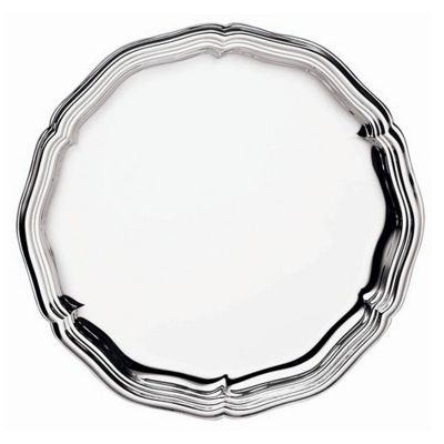 Glass Coaster Chippendale in Silver Plated embossed rim