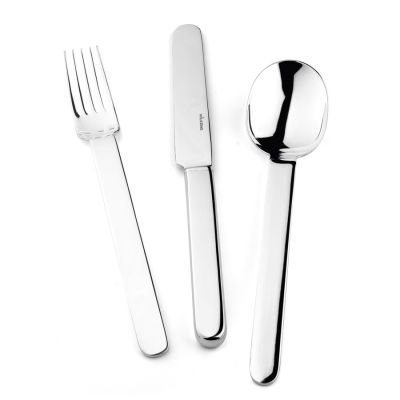 Pastry Fork Epoca in 925 Sterling Silver Frosted Surface