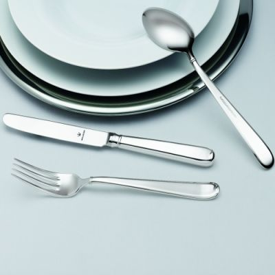 Pastry Fork Gala in 925 Sterling Silver - With Gold Decor