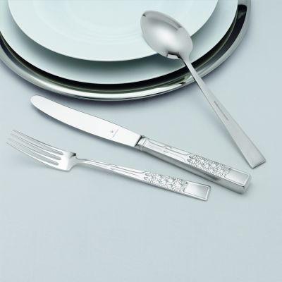 Pastry Fork Margeriten in 925 Sterling Silver Oxidized/polished Surface
