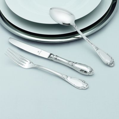 Pastry Fork Rokoko in 800 Silver Oxidized/polished Surface