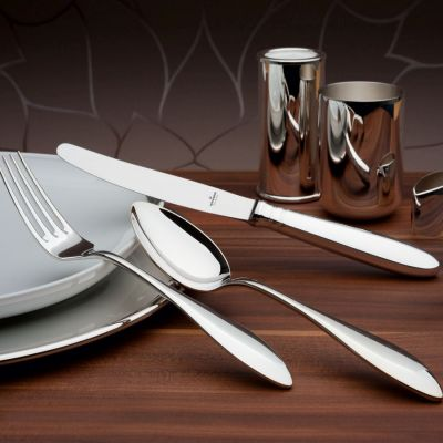 Pastry Fork Silhouette in 925 Sterling Silver Polished Surface