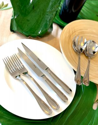 Steak Cutlery - 12-pc. Set plus 2 pc. Salad Serving Set Schwedisch Faden in 18/10 Stainless Steel