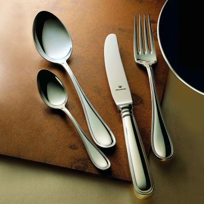 Silver Plated Cutlery Set - 4 Pieces - Schwedisch Faden in 180g Silver Plated